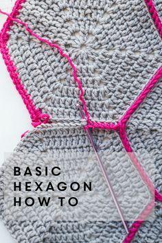 Basic hex tutorial. In British crochet terms. British treble = American double.