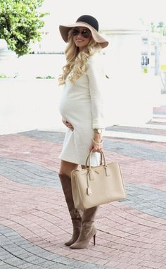 @roressclothes closet ideas #women fashion outfit #clothing style apparel white dress Maternity Outfit