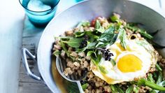 7 ways to use up mince that aren't bolognese Minced pork with chillies, Thai basil and fried egg.