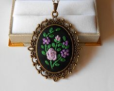 Unique Necklaces for Women Purple Flower Embroidered Necklace Personalized jewelry gift under 50 Custom embroidery jewelry Hand Embroidery Design Patterns, Hand Embroidery Projects, Flower Embroidery Designs, Embroidery Jewelry, Embroidery Hoop Art, Ribbon Embroidery, Custom Embroidery, Mom Jewelry, Jewelry Gifts