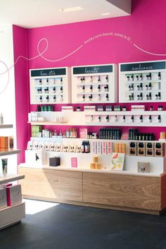 Cécile Halley des Fontaines * Agence de Design Global - Mademoiselle bio — retail - organic cosmetics shop — interior architecture — think pink