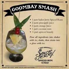 Rum cocktails and cocktails - turn your most-liked drinks by using Malibu rum recipes for stimulating and delectable cocktails. Party Drinks, Cocktail Drinks, Fun Drinks, Cocktail Recipes, Beverages, Milk Shakes, Goombay Smash, Sailor Jerry Rum, Vodka