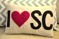 I heart Love South Carolina word Pillow Cover by MonthOfMayllc, $26.00