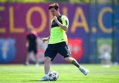 Lionel Messi of FC Barcelona in action during a FC Barcelona open Media Day ahead of their UEFA Champions League Final against Juventus on June 2, 2015 in Barcelona, Spain