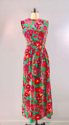 a514755ffdd Tanner 60s Dress Teal Pink Psychedelic Vintage 1960s Floral Velvet Maxi 42  bust Belted Shift Palm