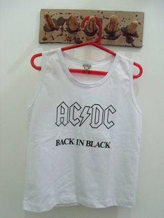 Regata Infantil AC/DC Cor: Branca Tamanho 6 anos R$ 30,00  www.elo7.com.br/dixiearte