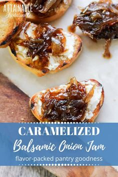 This easy to make savory-sweet caramelized onion jam recipe is a great way to preserve onions. It's divine on toasted baguettes with goat cheese. Or pizza. dishes Easy & Delicious Caramelized Onion Jam with Balsamic Vinegar Balsamic Onion Jam Recipe, Bacon Onion Jam, Balsamic Onions, Balsamic Vinegar, Red Onion Jam, Bacon Bacon, Jelly Recipes, Jam Recipes, Goat Cheese
