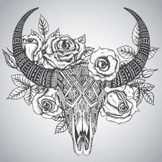 bull: Decorative indian bull skull in tattoo tribal style with flowers roses and leaves. Hand drawn vector illustration