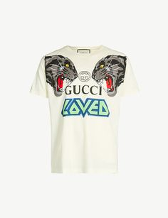 7d67928e0ff GUCCI Slogan-print cotton-jersey T-shirt