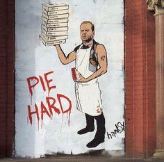 'Pie Hard' by Hanksy in New York City. #StreetArt #Graffiti #Mural