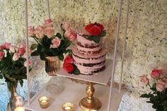 Semi naked cake with fresh roses for the birthday girl