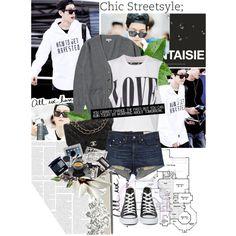 Baekhyun; Airport Fashion by jaehwapark on Polyvore featuring polyvore fashion style The Laundry Room rag & bone/JEAN Converse Chanel kpop EXO exok baekhyun byunbaekhyun