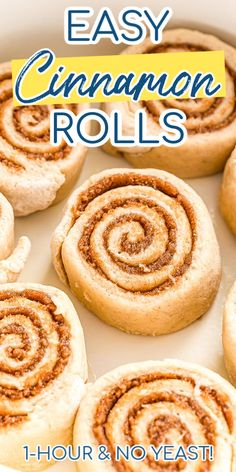 This Easy Cinnamon Rolls recipe is made without yeast and rising and is ready in less than 1 hour! If you want swirls of delicious sugar and cinnamon goodness wrapped in a soft dough without the hassle of proofing, this recipe is for you! Cinnamon Rolls Without Yeast, Pecan Cinnamon Rolls, Cinnamon Bun Recipe, Cinnamon Bread, Donut Recipe Without Yeast, Biscuit Cinnamon Rolls, Donut Recipes, Dessert Recipes, Cake