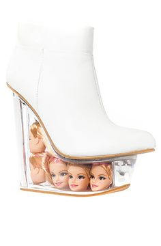 Jeffrey Campbell Shoe Icy in White Leather and Doll Heads