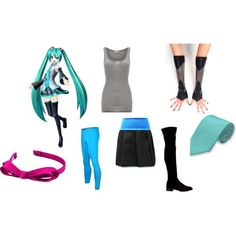 Hatsune Miku by mey-rin on Polyvore featuring American Vintage, Stuart Weitzman and L. Erickson