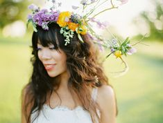 summer flowers: floral crown complete with a golden glistening branches, fresh mini oranges and vivid purple floral accents