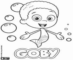 Een van de Bubble Guppies, Goby kleurplaat