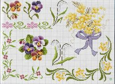 ru & Фото - Punto Croce - Ricama i Fiori piu belli dell& - Cross Stitch Cards, Cute Cross Stitch, Cross Stitch Borders, Cross Stitch Flowers, Cross Stitch Designs, Cross Stitching, Cross Stitch Embroidery, Hand Embroidery, Cross Stitch Patterns