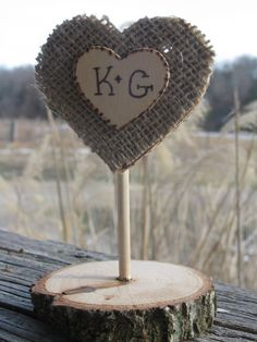 Rustic+Wood+and+Burlap+Cake+Topper+by+CedarWoodRustics+on+Etsy,+$10.00