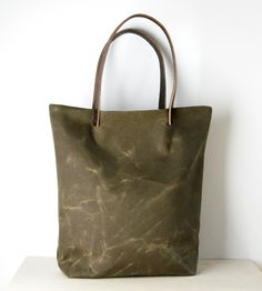 Wax Canvas & Leather Tote Bag / This handcrafted wax canvas tote