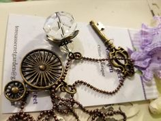 Arch Skeleton Key/Bronze Color/Antique Bicycle/Clear Charm/36inch Chain/Free Mystery Gifts.