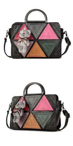 Handbags Vogue Women Contrast Color Triangle Bear Casual Shoulder Bags Crossbody Hamp M Australia 75 Off