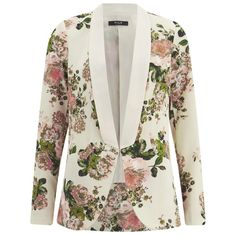 VILA Women's Flourish Spring Blazer - Pristine found on Polyvore featuring outerwear, jackets, blazers, coats, white, vila, shawl collar jacket, white blazer jacket, blazer jacket and shawl collar blazer