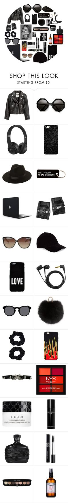 """Biker😎🖤"" by loveyourselfiee ❤ liked on Polyvore featuring H&M, Beats by Dr. Dre, Lack of Color, Various Projects, Funk Plus, Linda Farrow, Le Amonie, Givenchy, Sennheiser and Valentino"