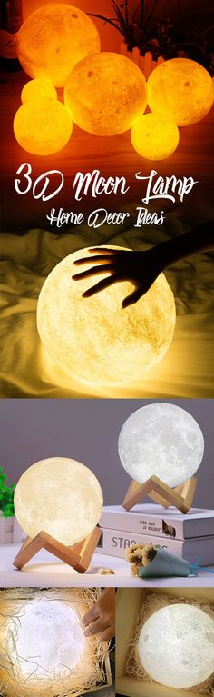 US$14.74 Rechargeable 3D Print Moon Lamp 2 Color Change Touch Switch Bedroom Bookcase Night Light Home Decor #newchic#light#moon