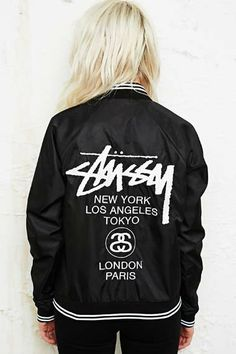 6dbc5edcdd72a Stussy World Tour Bomber Jacket at Urban Outfitters Thrasher