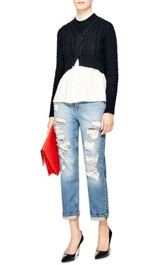 Cropped Cotton-Blend Cable-Knit Sweater by Thakoon Addition - Moda Operandi