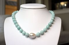 Amazonite and Baroque Pearl Necklace by edgeappeal on Etsy, $160.00