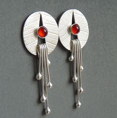 Sterling silver earrings with carnelian by Kailajewellery on Etsy, £45.00