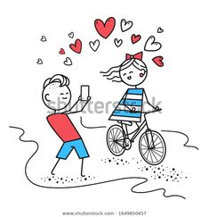 Стоковая иллюстрация «Girl Rides Bicycle Smiles While Boy Happy Valentines Day Card, Vector Characters, Bicycle, Snoopy, Smile, Boys, Illustration, Fictional Characters, Art