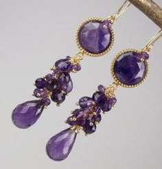 Statement Earrings Purple Amethyst Gold Long Cluster Wire Wrapped February Birthstone - Giselle. $185.00, via Etsy.