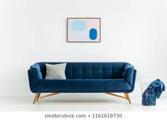 Poster Above Blue Sofa Cushion White: stockfoto (nu bewerken) 1161618730 Cushions On Sofa, Couch, Photo P, White Stock Image, Settee, Living Room Interior, Love Seat, Photo Editing, Royalty Free Stock Photos