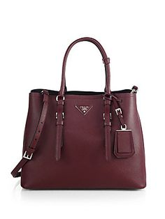 Prada Saffiano Cuir Medium Double Bag.  Love