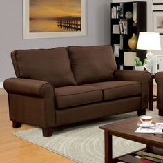 Furniture Of America Hensel Brown Love Seat Collection CM6760BR-LV