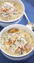 Seafood chowder - Recipes - Soup - New Zealand Woman's Weekly - I Cook Different Chowder Recipes, Soup Recipes, Cooking Recipes, Kiwi Recipes, Recipies, Drink Recipes, Seafood Dishes, Seafood Recipes, New Zealand Food