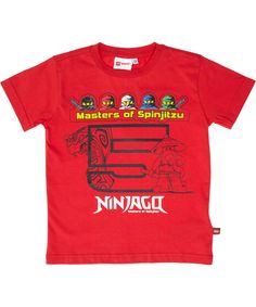 LEGO rode Ninjago t-shirt met de 5 Masters Of Spinjitzu. lego-wear.nl.emilea.be