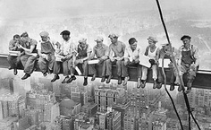 Men On Beam Rockefeller Center, 1932 Giclee Print     This is a high quality fine art giclee print of a vintage black and white photograph taken of the steel workers in New York working on the Rockefeller Center, 1932.