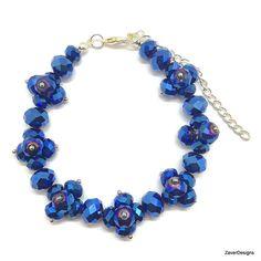 Blue Cluster Bracelet Cluster Bracelet Blue by ZaverDesigns