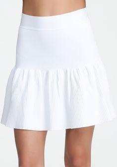 Flared Rib Skirt - White - S