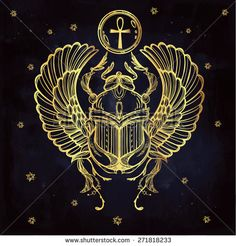 Hand-drawn vintage tattoo art. Vector illustration, symbol of pharaoh, Resurrection element of ancient Egypt, linear style. Scarab beetle of god sun Ra, wings and ankh. Isolated. Gold on Blue paper.