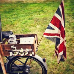 My new vintage Union Jack Flag adorning my ice cream tricycle. Picnic Blanket, Outdoor Blanket, Jack Flag, Union Jack, Tricycle, Special Events, Plum, British, Ice Cream