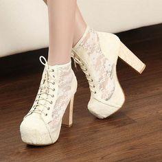 Lace Crochet Mesh Super High Block Heel Shoes Platform Ankle Bootie