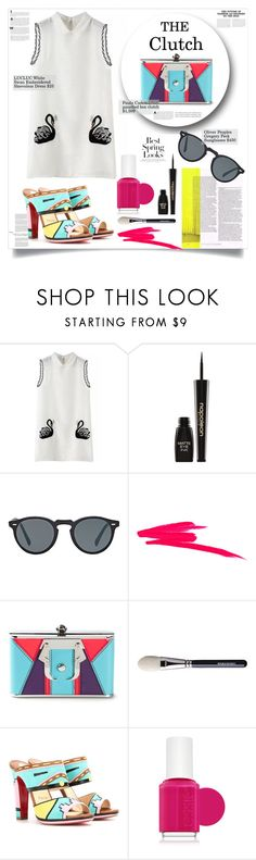 """Novelty Clutch"" by girlsboysclosets ❤ liked on Polyvore featuring Napoleon Perdis, Oliver Peoples, NARS Cosmetics, Paula Cademartori, Haze, Christian Louboutin, Essie, H&M, frontrowstyle and noveltyclutch"