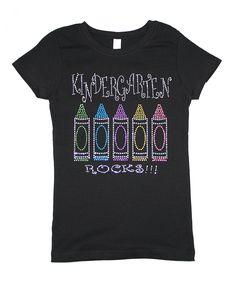 Black Bling 'Kindergarten Rocks' Tee - Toddler & Girls