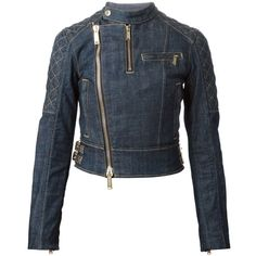 Dsquared2 denim biker jacket (675 CAD) ❤ liked on Polyvore featuring outerwear, jackets, denim, blue, quilted jackets, quilted moto jacket, blue moto jacket, blue denim jacket and biker jackets
