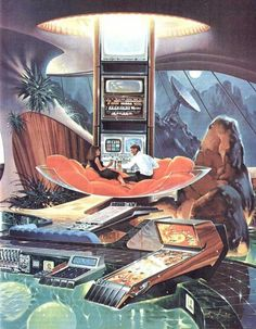 Retro future, mid century style- Paul Alexander. Very cool - reminds me of a cross between the old Motorola ads and the works of Syd Mead